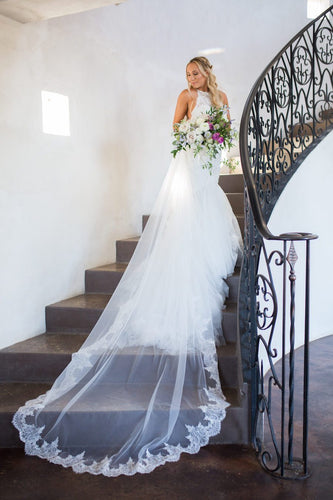 One Tier Chapel Length Bridal Veil With Lace Along The Edge