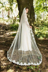 One Tier Chapel Length Bridal Veil With Scalloped Lace Edge