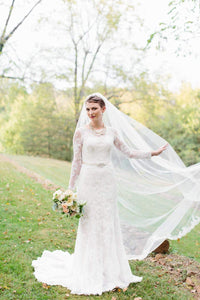 One-Tier Chapel Length Wedding Veil With Lace Applique