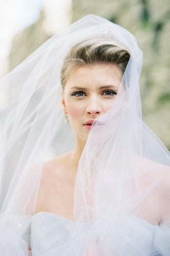 One-Tier Silk Effect Chapel Veil With Hand Cut Edge