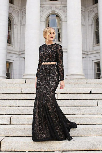 Open Back Round Neck Long Sleeve Two-Piece Black Lace Mermaid Prom Dress With Sequins