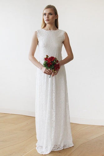 Open Back Sleeveless Jewel Neck Floor-Length Floral Lace Wedding Dress