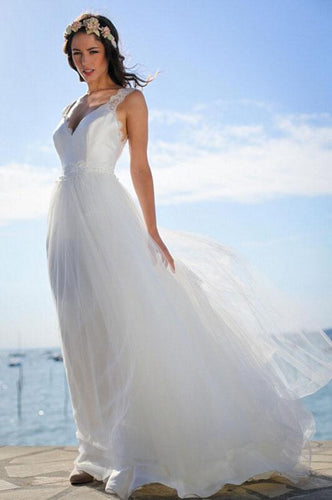 Open Back Strap Floor Length Tulle Beach Wedding Dress With Lace