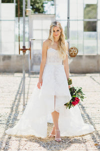 Organza Strapless Sweetheart High-Low Bridal Dress With Lace