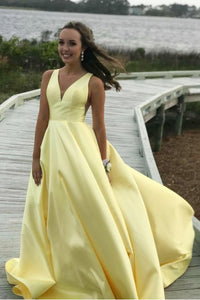 Plain V-Neck A-Line Sweep Train Yellow Satin Prom Dress