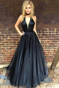 Plunging Neck Sleeveless Floor-Length Solid Black Organza Princess Evening Dress