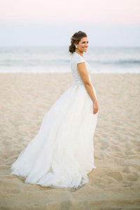 Plunging V-Neck Cap Sleeve Tulle Wedding Dress With Sequinned Lace Bodice
