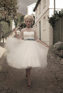 Polka Dotted Bow-knot Illusion Bateau Neck Half Sleeves Knee-Length Wedding Dress