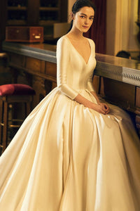 Princess Deep V-Neck 3/4 Sleeve Satin Cathedral Bridal Dress With Pleats