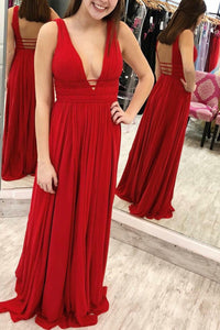Red Chiffon Low V-Neck Open Back Sweep Train Formal Evening Dress