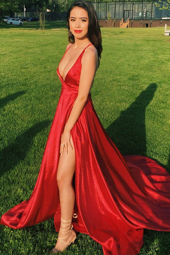Sexy Red Deep V-Neck Sleeveless Long Slit Satin Prom Dress with Sweep Train