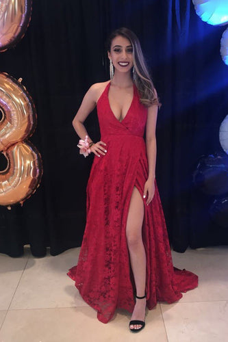 Red Lace Plunging Neck Sleeveless Long Solid Slit Prom Dress with Sweep Train
