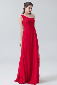 Red Chiffon One-Shoulder Sleeveless Sweep Train Chiffon Bridesmaid Dress