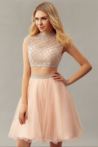 Rhinestone Beading Sequin High Neck Cap Sleeves Zip-Up Two Piece Cocktail Dresses