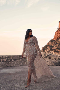 Rhinestone Beading Illusion Deep V-Neck Long Sleeves Plus Size High-Low Wedding Dress