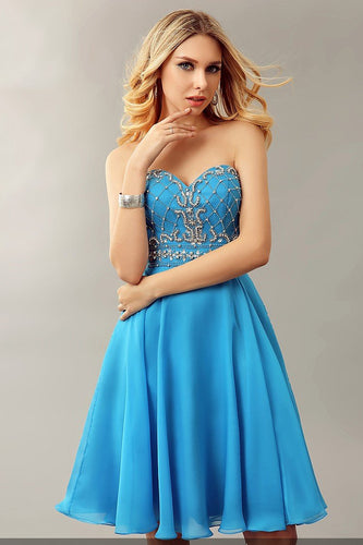 Rhinestone Beading Sweetheart Sleeveless Zipper-Up Short Solid Chiffon Cocktail Dress