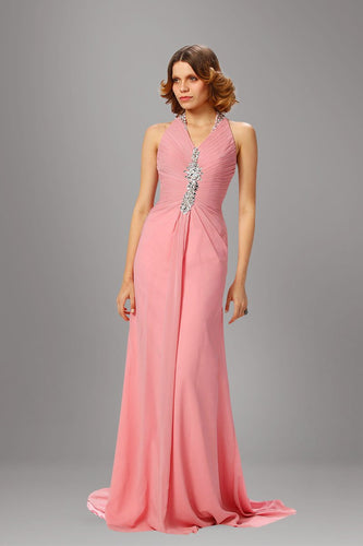 Rhinestone Halter Neck Sleeveless Backless Long Fit-And-Flare Ruched Chiffon Evening Dress