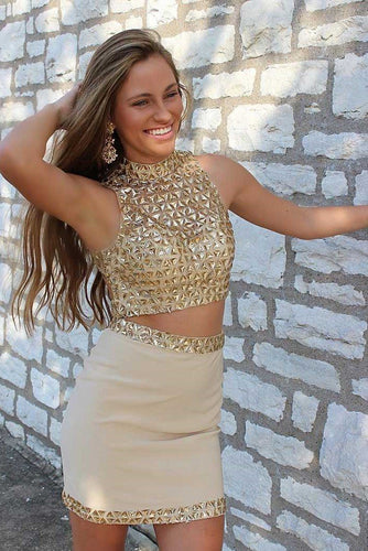 Sexy Rhinestone High Neck Sleeveless Two Piece Short Solid Bodycon Cocktail Dresses