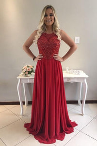 Rhinestone Illusion Scoop Neck Sleeveless Long Solid Red Sheath Chiffon Evening Dress
