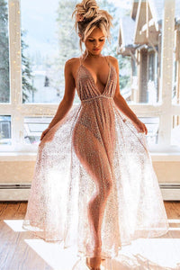 Sexy Rhinestone Illusion Spaghetti Straps Sleeveless Backless Ankle-Length Prom Dress