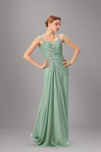 Rhinestone Illusion Straps Sleeveless Long Solid Ruched Chiffon Evening Dress with Court Train