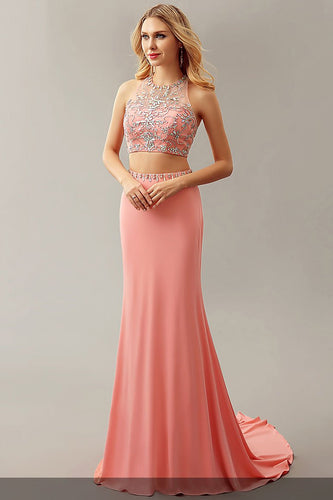 Rhinestone Jewel Neck Sleeveless Open Back Two Piece Floor-Length Mermaid Evening Dresses