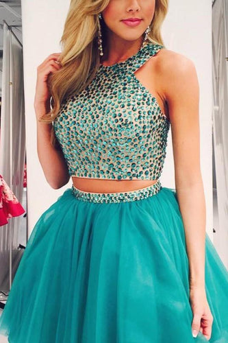Rhinestone Jewel Neck Sleeveless Two Piece Short Solid Tulle Evening Dresses