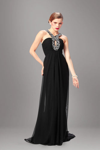 Rhinestone Key-Hole Jewel Neck Sleeveless Zipper-Up Long Black Chiffon Evening Dress