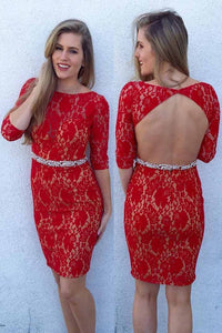 Rhinestone Lace Bateau Neck Half Sleeves Open Back Short Solid Bodycon Evening Dress