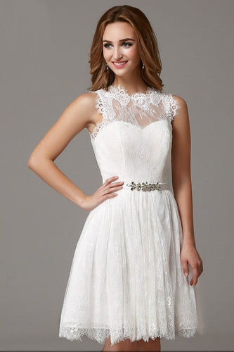 Luxury Rhinestone Lace Illusion Scalloped Edge Neck Sleeveless Open Back Cocktail Dress