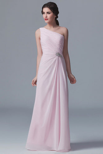One-Shoulder Sleeveless Floor-Length Ruched Sheath Chiffon Bridesmaid Dress