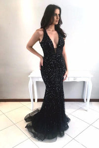 Rhinestone Plunging Neck Sleeveless Open Back Long Solid Mermaid Evening Dress