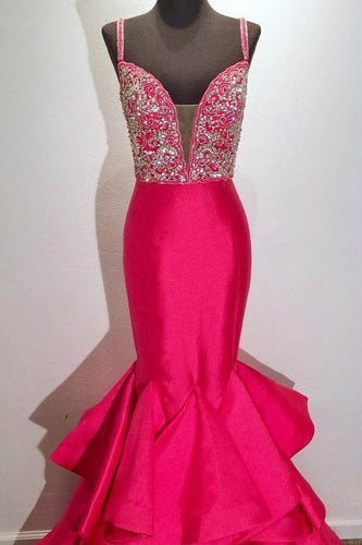 Rhinestone Ruffles Spaghetti Straps Sleeveless Zipper-Up Long Mermaid Evening Dress