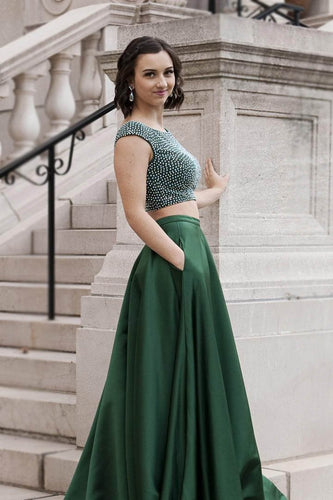 Rhinestone Scoop Neck Cap Sleeves Open Back Two Piece Long Solid Evening Dresses