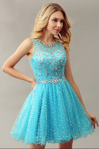 Luxury Rhinestone Scoop Neck Sleeveless Zipper-Up Short Solid Tulle Cocktail Dress
