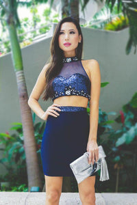 Rhinestone Sequin High Neck Sleeveless Two Piece Short Bodycon Cocktail Dresses