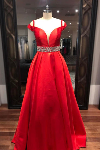 Rhinestone Spaghetti Straps Cold Shoulder Floor-Length Solid Red Satin Evening Dress