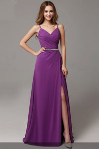 Rhinestone Spaghetti Straps Sleeveless Zipper-Up Long Solid Ruched Slit Evening Dress