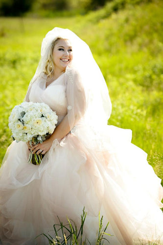 Elegant Rhinestone Illusion V-Neck Sleeveless Plus Size Long Tulle Ball Wedding Gown