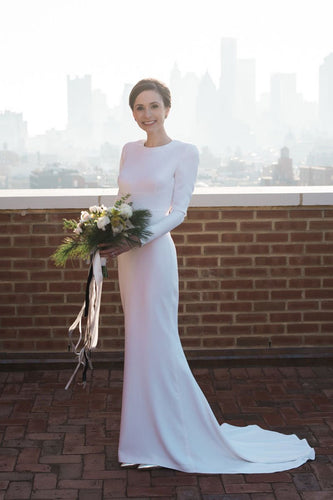 Round Neck Long Sleeve Cut-Out Back Sheath Satin Bridal Dress With Sweep Train
