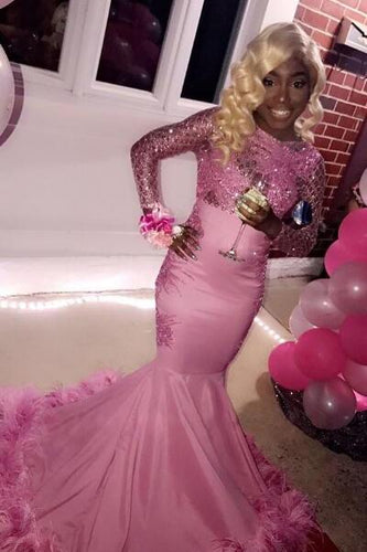 Round Neck Long Sleeve Pink Mermaid Prom Dress With Sequins