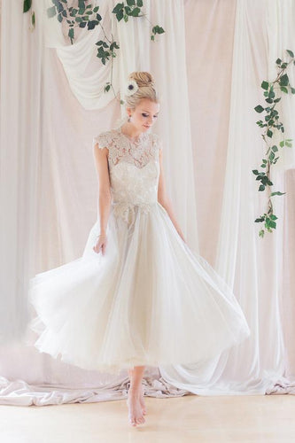 Round Neck Tea-Length Ivory Tulle Wedding Dress With Illusion Lace Bodice