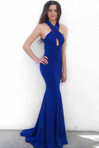 Royal Blue Criss Cross Neck Jersey Mermaid Formal Dress With Sweep Train