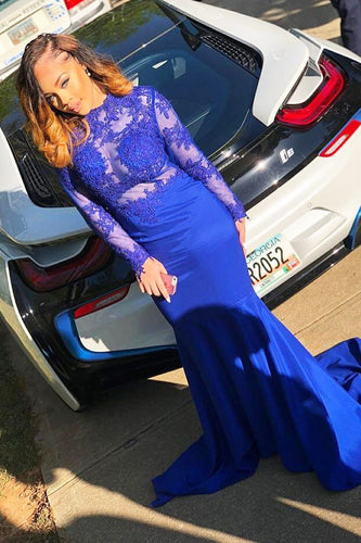 Royal Blue High Neck Long Sleeve Mermaid Prom Dress With Illusion Lace Bodice