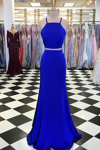 Royal Blue Jersey Two-Piece Mermaid Prom Dress With Sweep Train