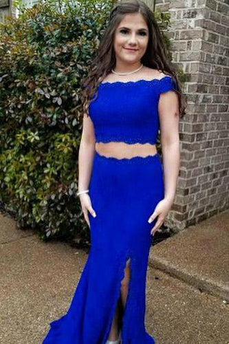 Royal Blue Lace Off-The-Shoulder Two-Piece Formal Dress With Slit
