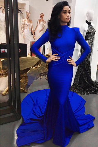 Royal Blue Long Sleeve High Neck Court Train Mermaid Prom Dress