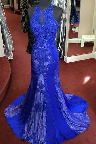 Royal Blue Open Back Jewel Neck Mermaid Prom Dress With Lace & Sequins