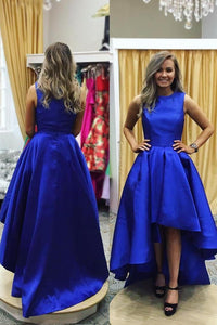 Royal Blue Scoop Neck Sleeveless Zipper-Up High-Low Solid Satin Evening Dress
