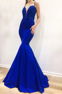 Royal Blue Spaghetti Strap Mermaid Prom Dress With Sequinned Lace Bodice